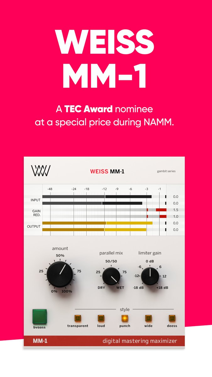 With its five styles of mastering dynamics in a focused workflow, our Weiss MM-1 is nominated for a TEC award! To celebrate its nomination you can now buy it with $50 off until Sunday the 27th, and make your music sound even more amazing 🤘 Get it now 👉  https://www.softube.com/index.php?id=weissmm1 …