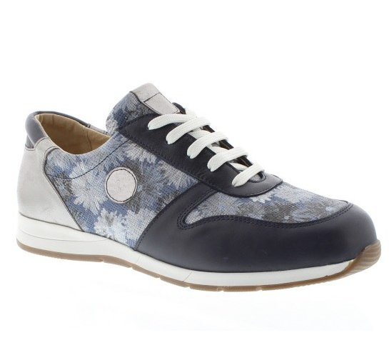 f116d4a6fccd Check out these  Womens  DaBella Bridget Extra Wide Fitting Leather Trainer  Style Shoe With Floral Pattern Insert Panels   Silver Heel Section ...