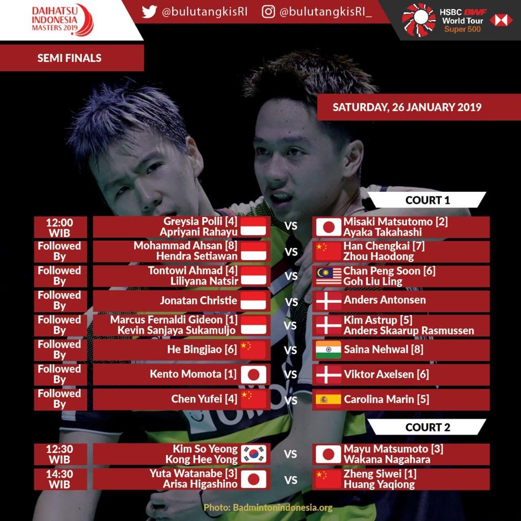 Jadwal pertandingan babak semifinal Indonesia Masters 2019.