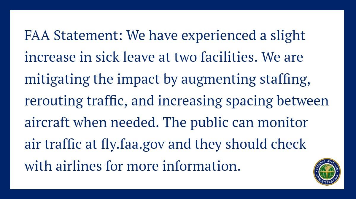#FAA Statement: Staffing Update