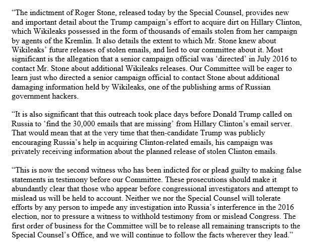 """Most significant in the Stone indictment is new info that a senior campaign official was """"directed"""" in July 2016 to contact Mr. Stone about additional Wikileaks releases.  This was at same time candidate Trump was publicly calling for Russia's help in obtaining Clinton's emails."""