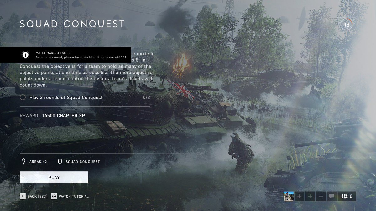 Battlefield 5 error code 34601 xbox one