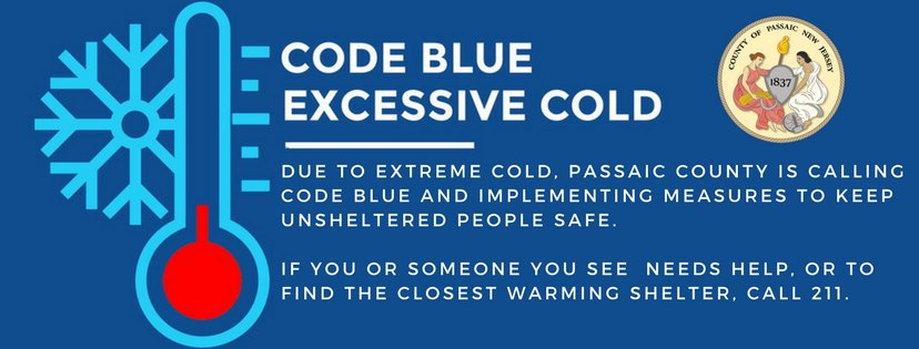 Code Blue will be in effect beginning at 5:00 p.m. on Friday, January 25, 2019.