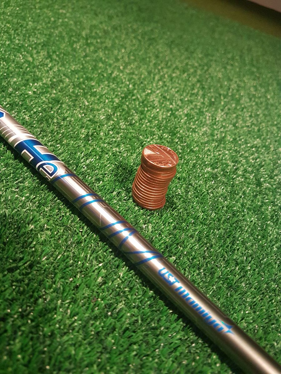 Q. Which weighs less...this shaft or 20 1pence pieces? A. The shaft!!!!!  Available in the new 2019 drivers. #moreballspeed #moredistance