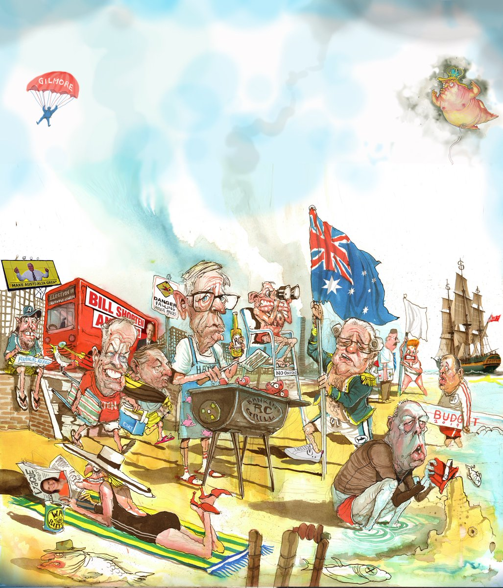 David Rowe draws a big Aussie barbecue with many special guests