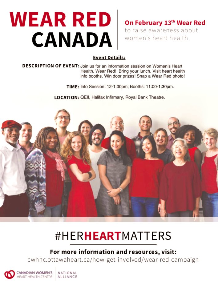Get ready! February is #HeartMonth Join in across 🇨🇦 Canada 🇨🇦 on Wednesday, February 13th to celebrate a national day of #Awareness #HeartHealth #HerHeartMatters #WearRedDay #WearRedCanada #TimeToSeeRed @HeartandStroke @CWHHC @QEIIFoundation