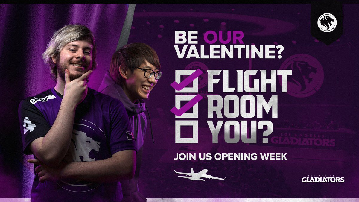 💜 Want to be our special guest for Valentine's Day? 💜  We'll fly you AND a comrade out to our #OWL2019 debut in Los Angeles.  🛡️ Round trip flights 🛡️ 4 nights hotel stay 🛡️ International giveaway  ENTER HERE: http://bit.ly/GLAValentines