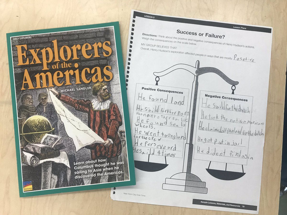 """Recently, the students in 2nd grade at PS77 did research on Henry Hudson by reading """"Explorers of the Americas"""" and listening to a short article based on his journey's. As a result, students debated on whether he had a positive or negative exploration.What do you think ?#cedc706<br>http://pic.twitter.com/TQYKBcqY4T"""