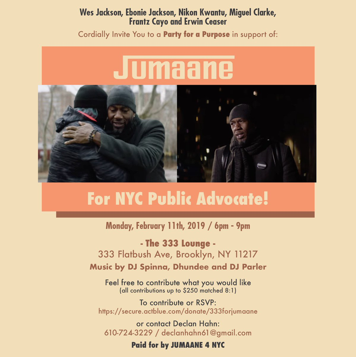 Come rock with us -@JumaaneWilliams for NYC Public Advocate Fundraiser  with @djspinna , @dhundee & @DjParler on the 1's and 2's. This Monday at 333 Lounge, BKNY https://t.co/0wkEvzWvii