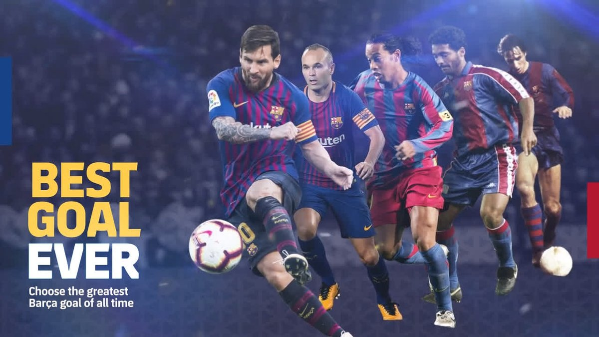🔥 #BarçaBestGoalEver 🔥 These 4 goals are the first ones to go into the last 16! 😍 Leo #Messi 😱 Cruyff 🙈 Leo #Messi 😎 Koeman 🚀 TODAY: Alves 🆚 Ronaldinho 🇧🇷 Vota here👉http://ow.ly/p4iN30n4tHo