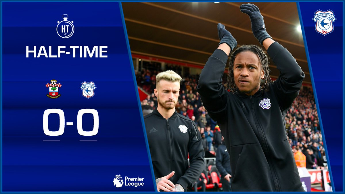 HALF-TIME: @SouthamptonFC 0-0 #CardiffCity   All square at the break here at St Mary's.  #SOUCAR #CityAsOne