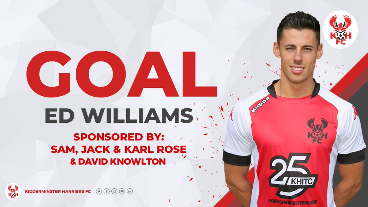 86' HARRIERS 4-1 Chester Back from injury, back on the score sheet! Firm strike from Williams who finds the bottom corner from the edge of the area!