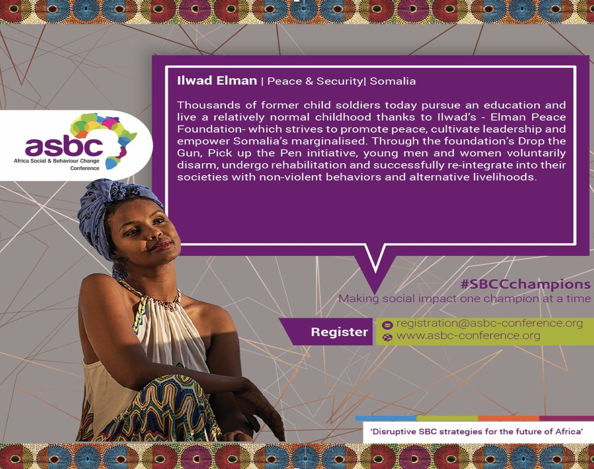 #ASBCConference2019 joins the world in celebrating Ilwad Elman - a bold champion for peace and conflict resolution. She works with young and marginalised boys and girls in Somalia to break the vicious cycle of violence. Register today: https://bit.ly/2FfW9fi