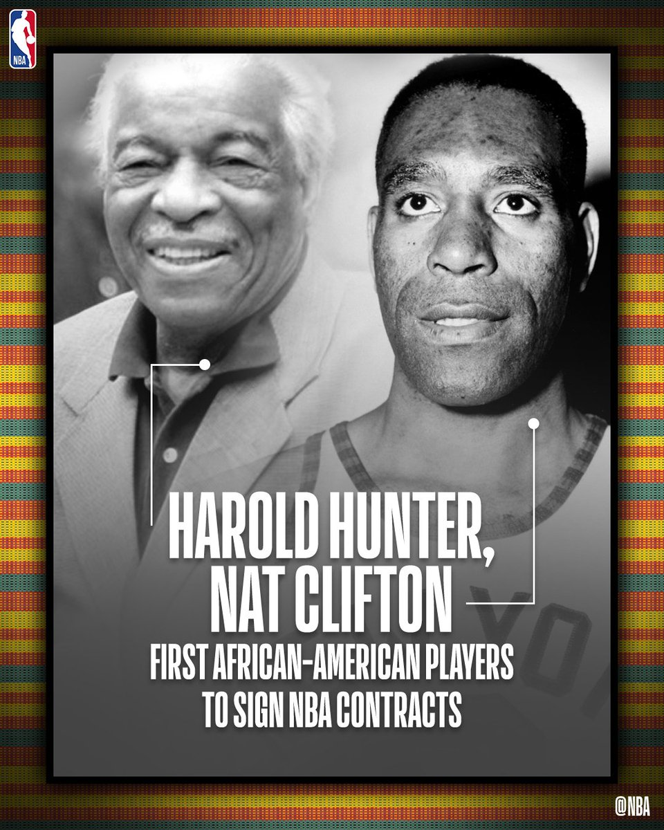 Harold Hunter and Nat Clifton... the first African-American players to sign NBA contracts.  #NBABHM #NBAVoices #BHM