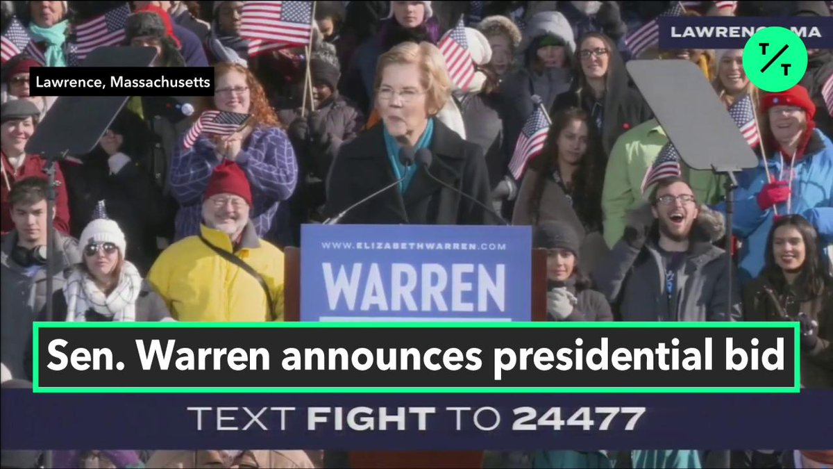 """.@SenWarren vows to """"overturn every single voter suppression rule"""" at her 2020 campaign rally in Lawrence, MA #tictocnews"""