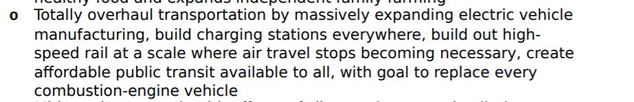 For instance, the left is in her summary, the right is the bill. There's nothing about replacing all transportation with trains, just phasing out air travel. She let her nutcase DSA staffers write whatever they want and they completely screwed her
