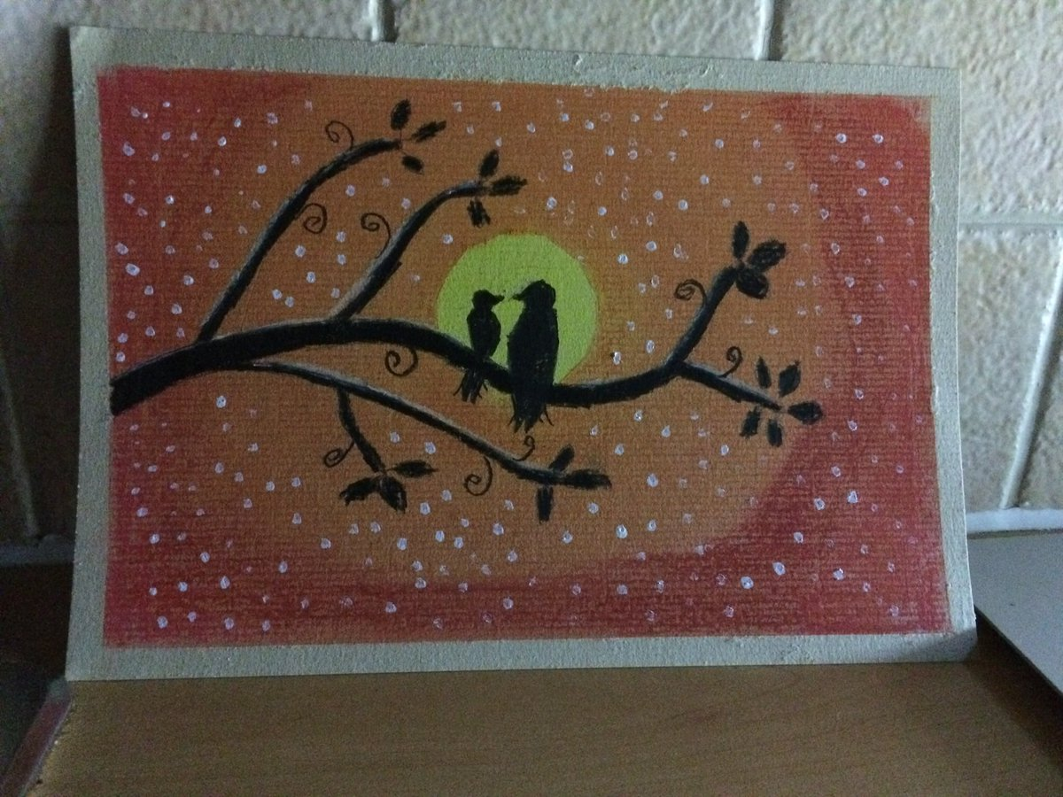 Starry night with two love birds