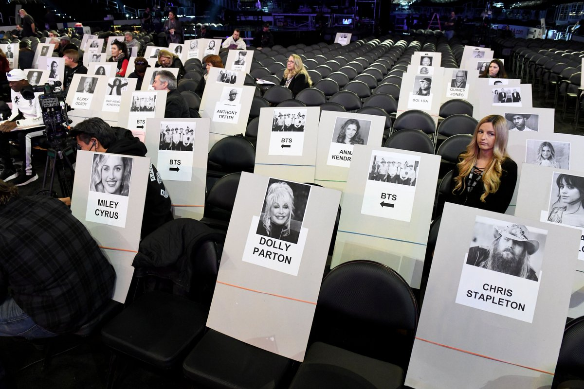 Check out who @BTS_twt is sitting next to at the #GRAMMYs on Sunday! @bts_bighit @RecordingAcad
