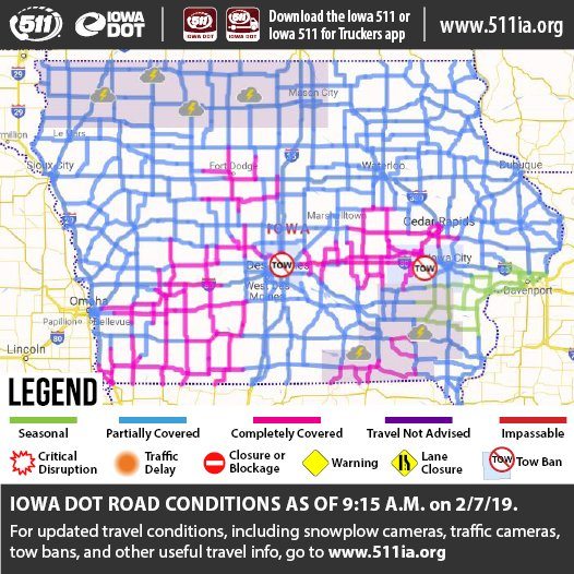 Road Conditions In Iowa Map.Iowa Dot On Twitter Updated Road Conditions As Of 9 15 A M On 2 7