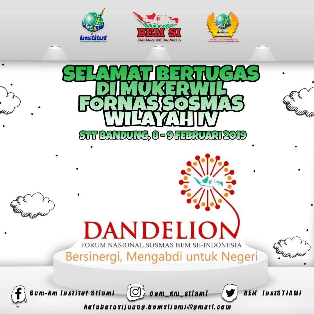 [BEM INFO] [MUKERWIL FORNAS SOSMAS] [WILAYAH IV]  Selemat bertugas delegasi BEM KM INSTITUT STIAMI di Musyawarah Kerja Wilayah IV Fornas Sosmas BEM SE-INDONESIA di STT Bandung, 09 Februari 2019
