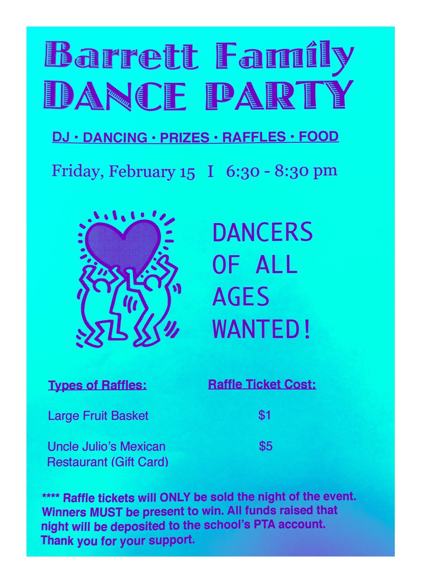 <a target='_blank' href='http://twitter.com/BarrettAPS'>@BarrettAPS</a> families do not forget that next Friday U R all welcome to join us for our big dance. <a target='_blank' href='http://search.twitter.com/search?q=FreeEvent'><a target='_blank' href='https://twitter.com/hashtag/FreeEvent?src=hash'>#FreeEvent</a></a> Do not forget that we will be awarding prizes to those Ss who participate in our choreographed dances part of the evening. <a target='_blank' href='https://t.co/JWJjzzvNh1'>https://t.co/JWJjzzvNh1</a>