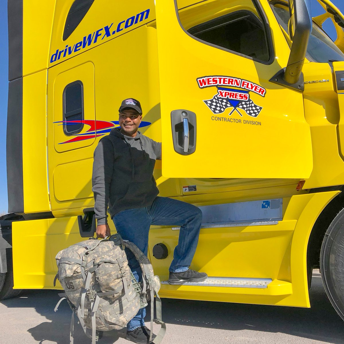 Keon, one of our new contractors, is also in the Army Reserves. Thank you for your service!  #trucks #cdl #cdldriver #drivethedream #miles #bigrig #bigrigdriver #trucking #army #driveyourdream #ontheroad #drivewfx #runthemiles #cdl #cdldriver #cdlcontractor #leasetoown #otrtruck