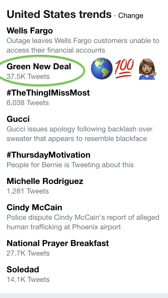 The #GreenNewDeal is trending in the United States.
