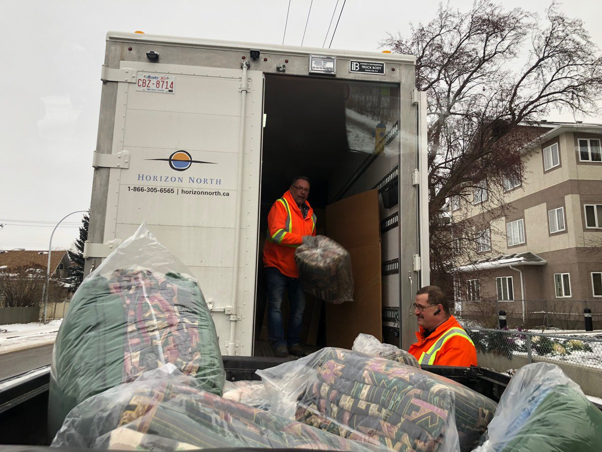 #ThrowbackThursday to earlier this winter when members of our Edmonton office team delivered 18 pallets of blankets to help those who found themselves homeless. The blankets came from some of our remote lodges, where they were being switched out for a new design.