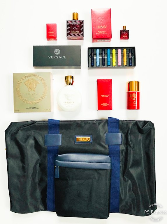 Here's our blockbuster #VersaceEros Twitter Grand Prize! It includes the NEW Versace Eros Flame fragrance & deo, Eros Pour Femme body lotion, travel scent sampler and a signature weekender bag. To enter, follow @davelackie & RT Versace Eros Flame is a citrus spicy-woody scent.