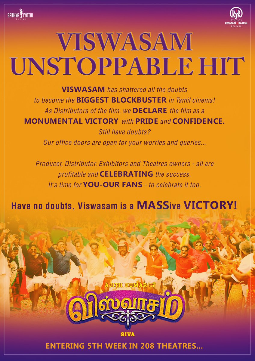 #ViswasamUnstoppableHit   Updated collections, TN theatrical collections, overseas collections - you have been asking us a million questions. We have one single answer to it all - #Viswasam IS THE BIGGEST BLOCKBUSTER IN TAMIL CINEMA! This victory is not just ours, it's YOURS!