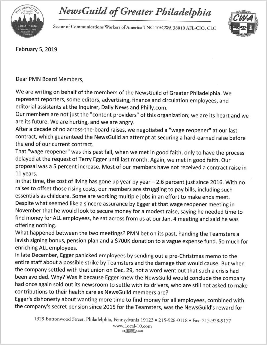 🚨We will not go quietly. 🚨  We sent a letter to the Philadelphia Media Network's board of directors to notify them of our current situation where our publisher Terry Egger has refused to bargain with us in good faith during our wage reopener.   Let's break down our situation👇