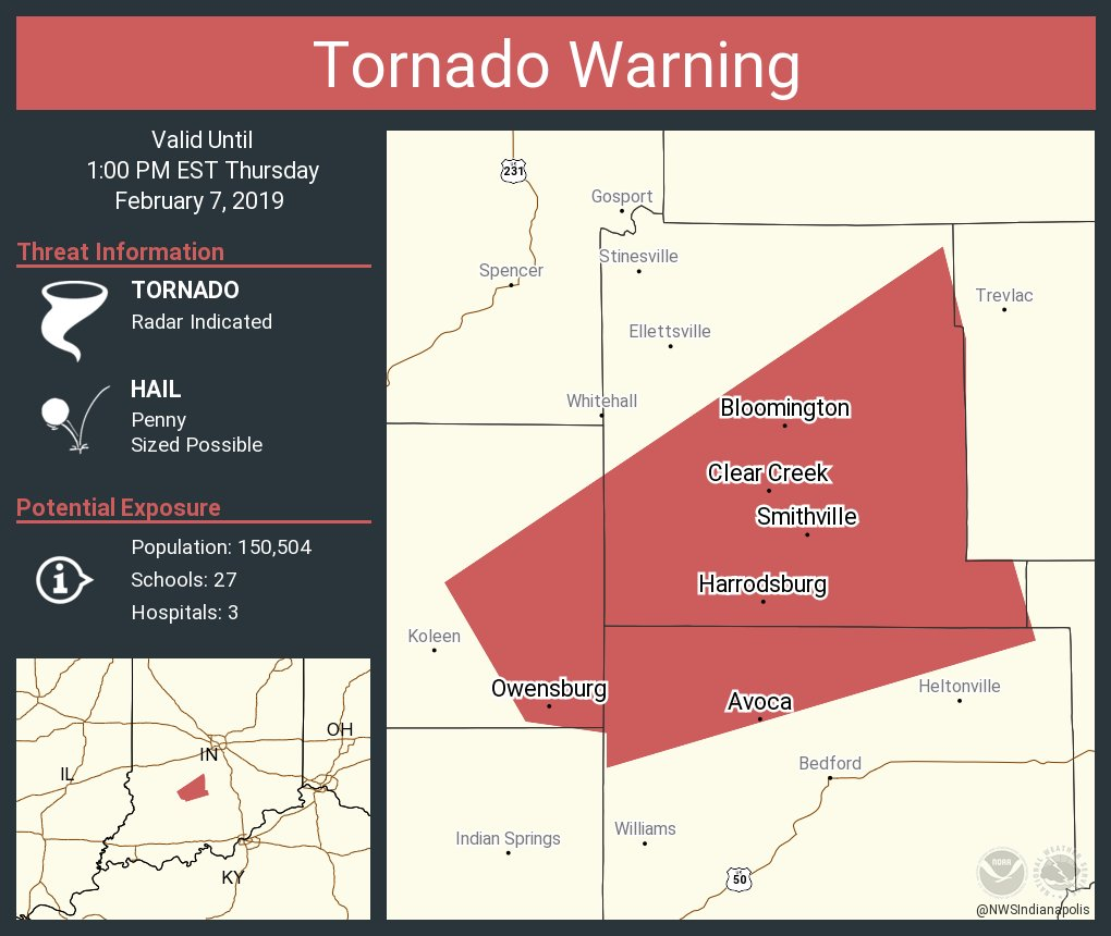 Tornado Warning including Bloomington IN, Harrodsburg IN, Avoca IN until 1:00 PM EST