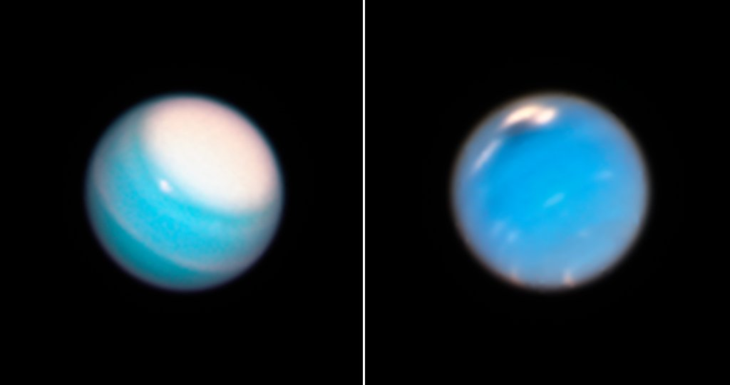 During its routine yearly monitoring of the weather on our solar system's outer planets, Hubble uncovered a new mysterious dark storm on Neptune and provided a fresh look at a long-lived storm circling around the north polar region on Uranus:  https://t.co/ErZTfFwZfF