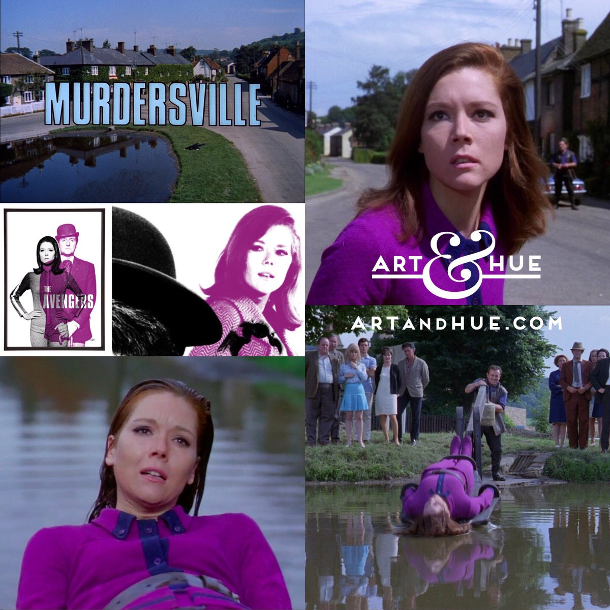 """On this day in 1968, The Avengers episode """"Murdersville"""" aired on American television for the first time.  http://artandhue.com/theavengers  #OnThisDay #OTD #dianarigg #mrspeel #patrickmacnee #johnsteed #EmmaPeel #TheAvengers #MadeAtElstree #Murdersville #ColinBlakely #Aldbury"""