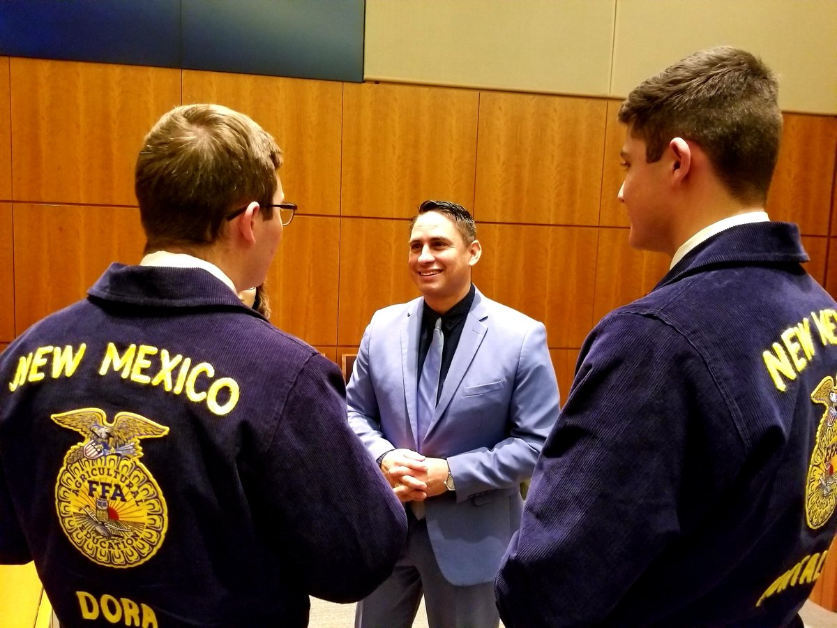 Many of the hardest-working students in our schools are the Future Farmers of America young leaders.  Many blue coats in the Roundhouse today, I always enjoy meeting with them.  They are great advocates for more agriculture education & our #rural #NM communities. #nmpol #nmleg