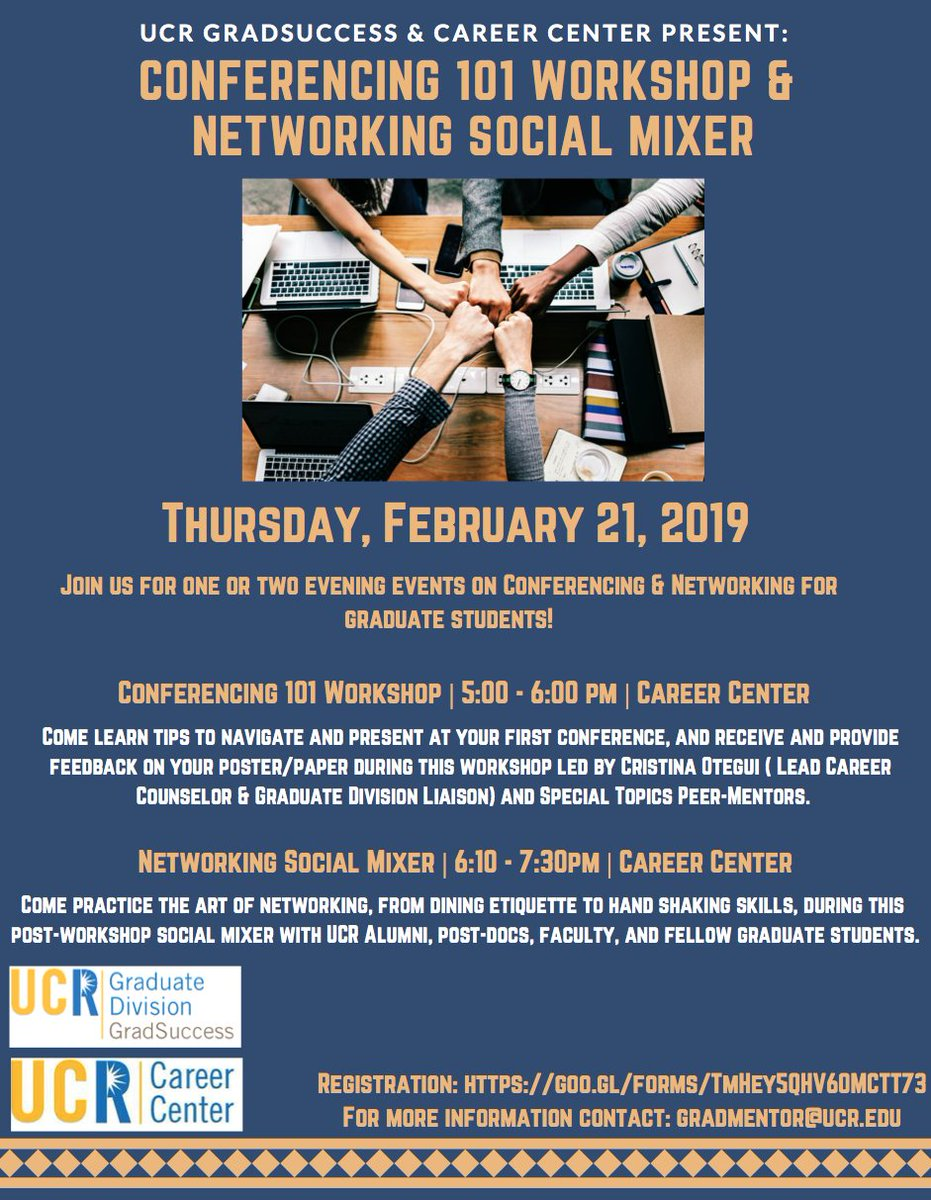 They are extending the deadline for graduate students to rsvp for the Conferencing 101 workshop and Networking Social at the #UCR Career Center!