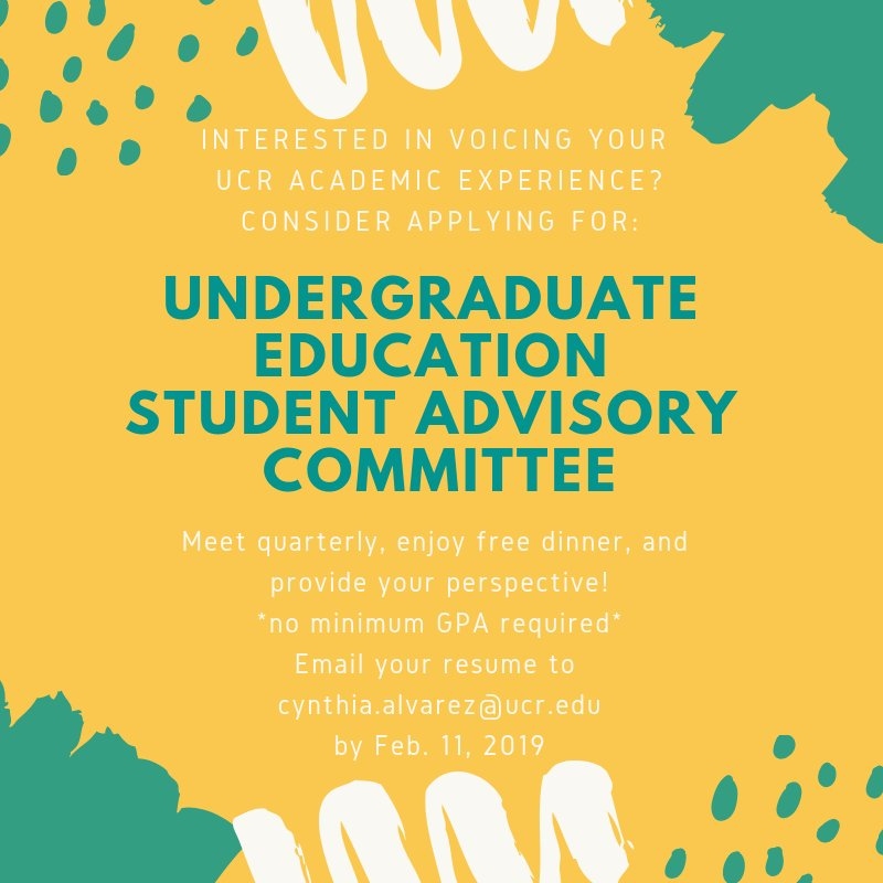Hey this is an opportunity for all #UCR students even if you are graduating in Spring 2019 ... So check it out … If you are doing academically well or if you feel lost on campus … This committee is for you! .. All voices are welcome!
