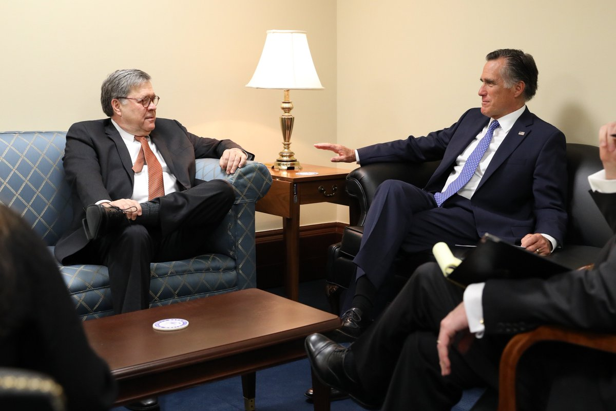 William Barr is exceptionally qualified to serve as Attorney General. He'll provide strong leadership, respect and defend the rule of law, and maintain the @TheJusticeDept's independence. Read more about why I will be voting in support of his nomination → https://www.romney.senate.gov/senator-romney-announces-support-william-barr …
