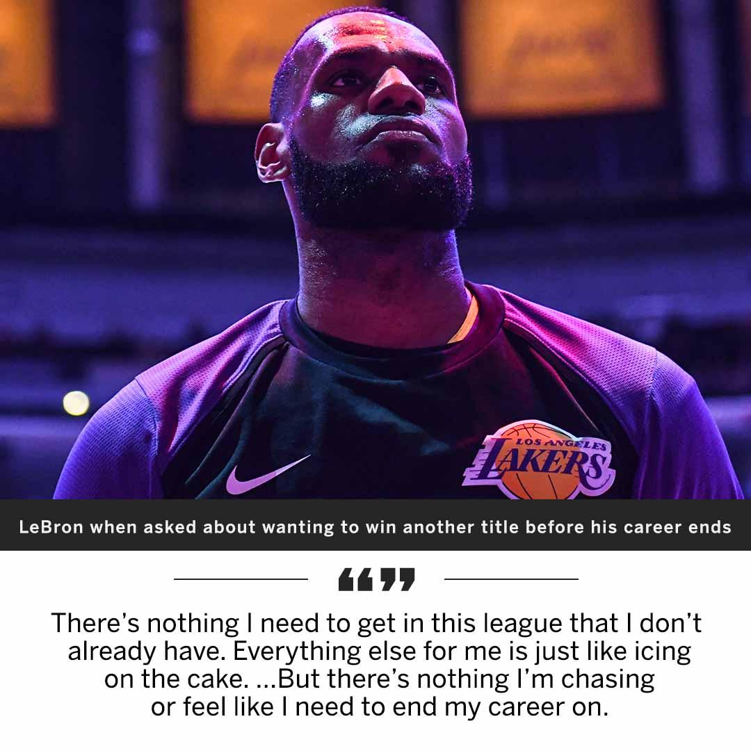 LeBron says he isn't chasing anything before his career is over. https://t.co/tEpyO2FgAt