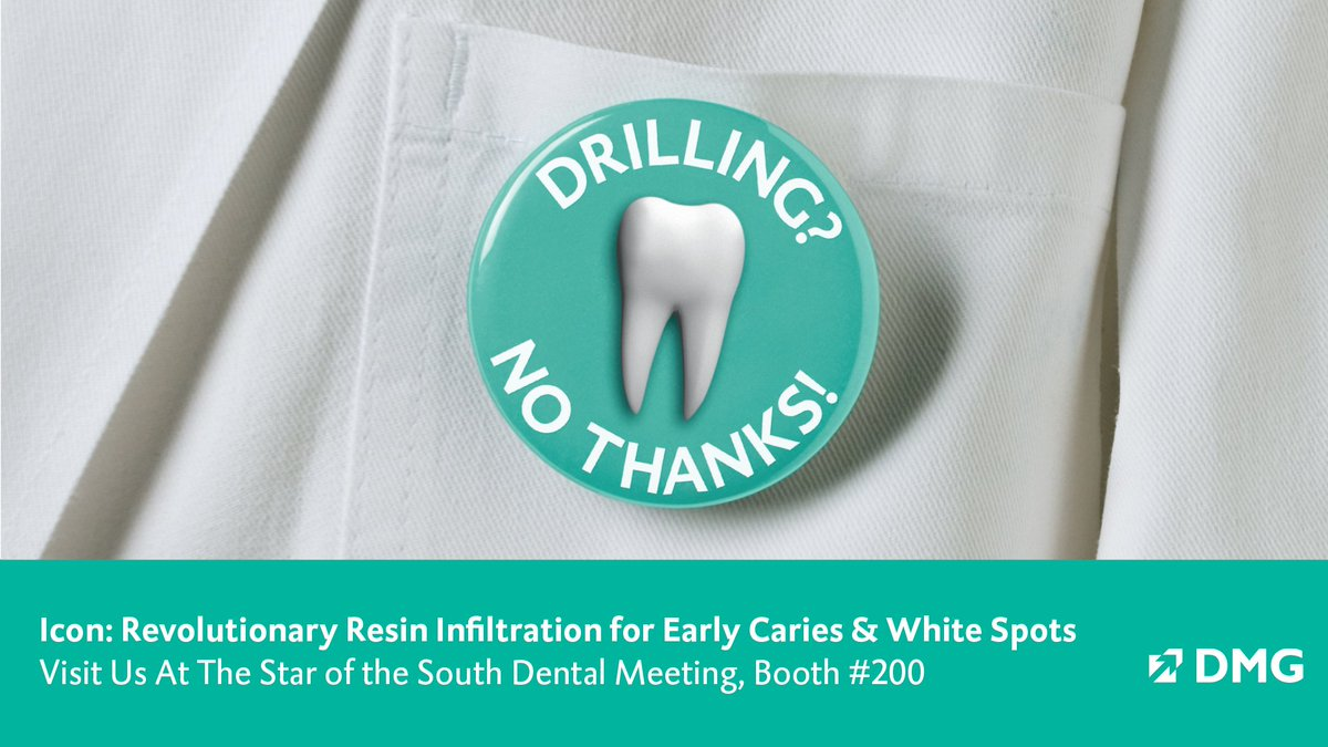 """Treat early caries immediately - don't """"wait and see"""" until it's time to drill. Talk to one of our team members about the caries infiltration treatment - booth 200 at Start of the South. #DMGAmerica #IconByDMG"""