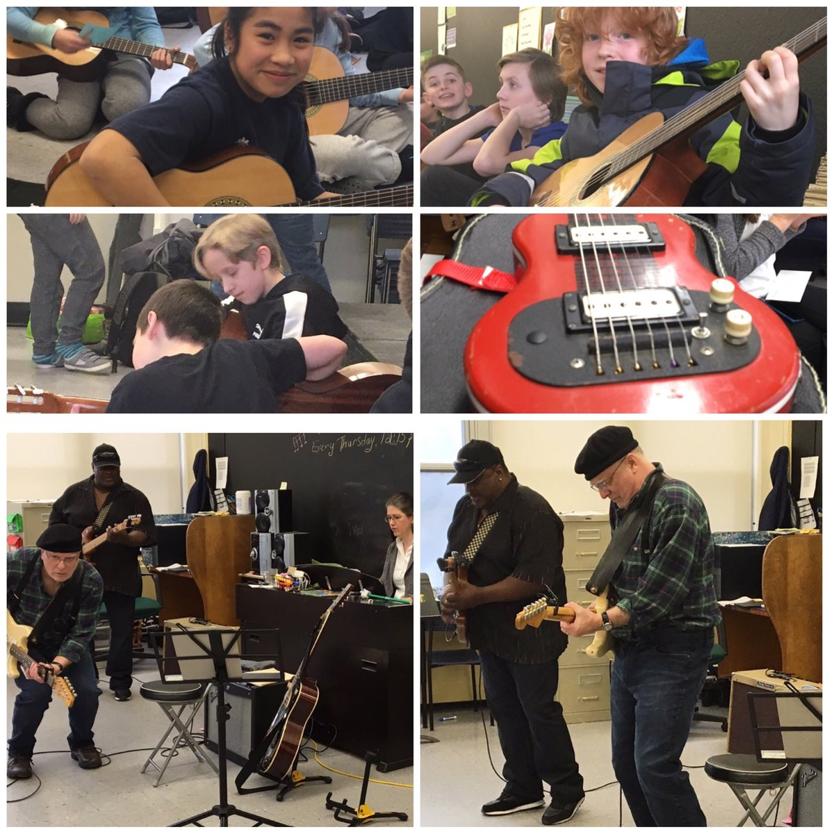 Gr. 6 Fader students practice their new guitar skills after an inspiring visit from @Carson_Downey and John Campbelljohn, who taught us about the incredible contribution that African culture has made to modern music of all styles.