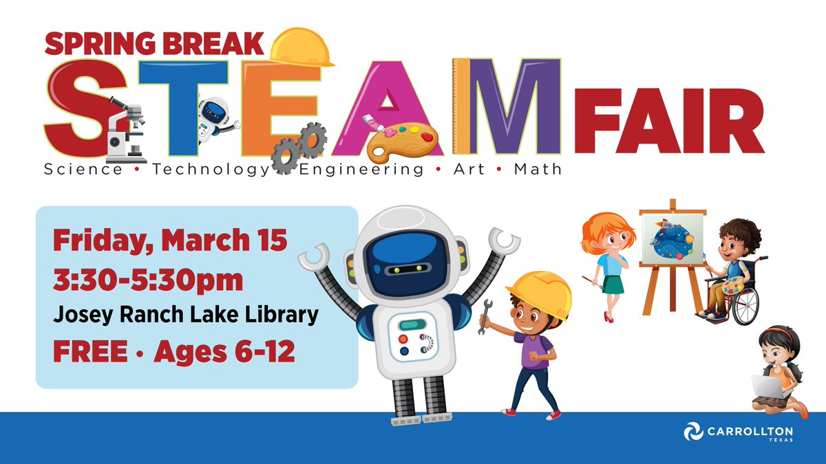 Bring the kiddos to @CarrolltonTXLib on Mar 15 for the STEAM Fair. The STEAM Fair allows kids to take part in hands-on experiments that will fuel their imagination. There will be kits to assemble, circuits to investigate, mazes to build, & more to explore. http://bit.ly/2GgBdp6