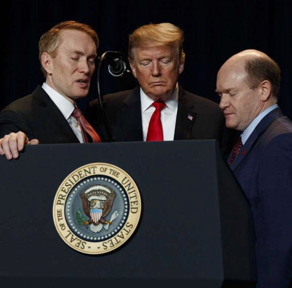 I don't have 1000 words for this photo (credit to @AP photographer @evanvucci) but I do have some.  It's no secret that I don't agree with President Trump very often, but I pray for the President regularly, as I did at today's National Prayer Breakfast.