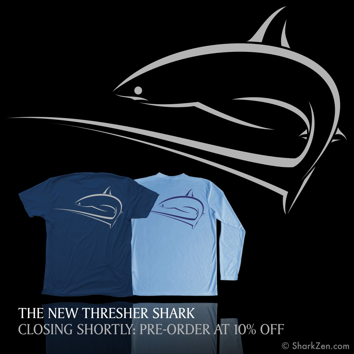 2948e412 Introducing the New Thresher Shark. Sun Protection Swim Shirt and Premium T- Shirt Available for Pre-Order at 10% Off For a Limited Time.