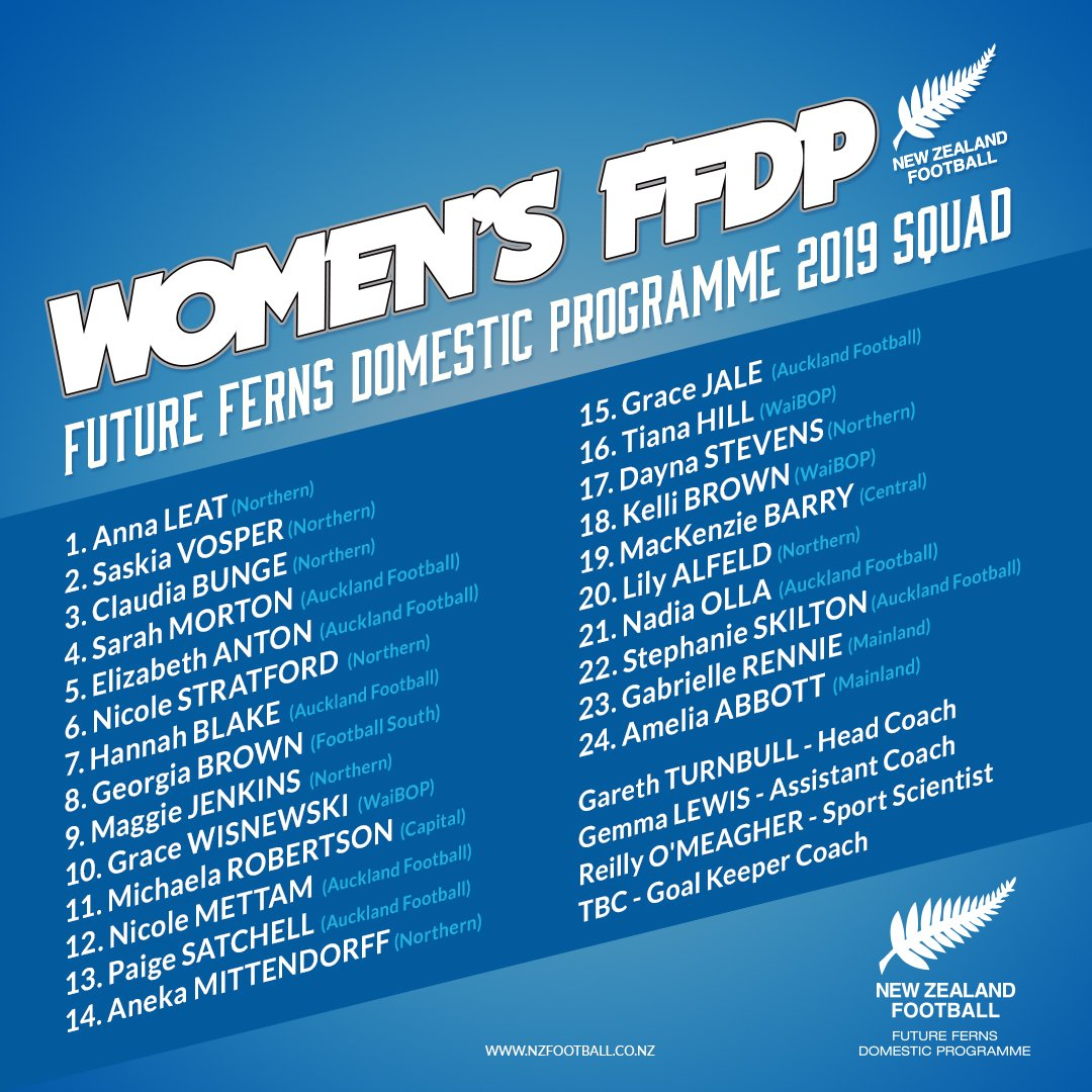 SQUAD | Here is the Future Ferns Domestic Programme Squad for 2019 #FFDP #FootballFerns