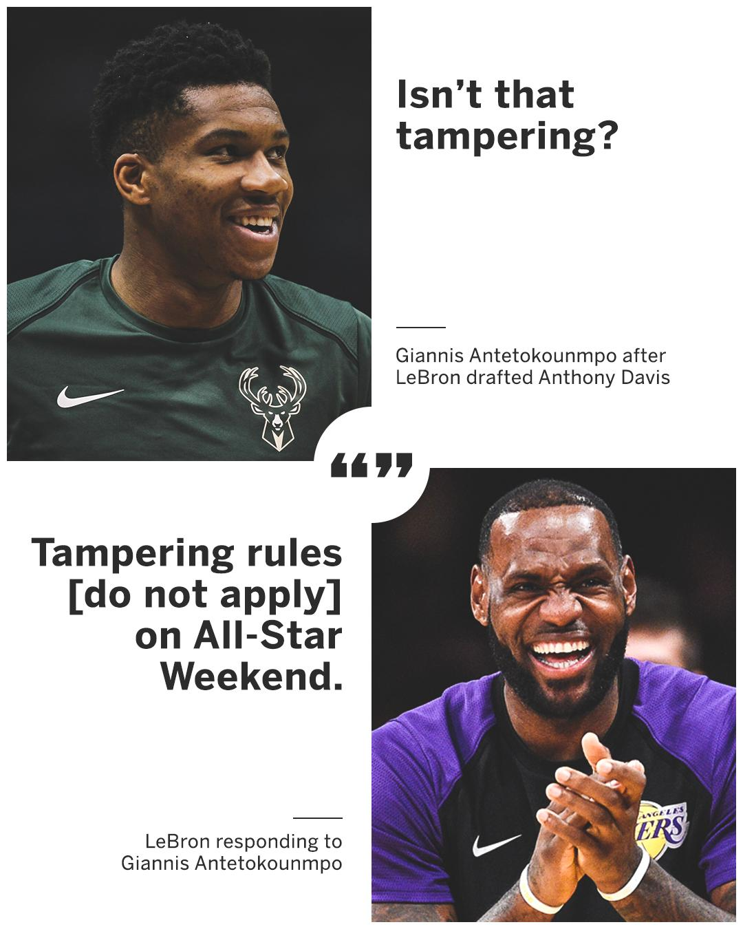 """LeBron said he was """"very sure"""" he wanted Anthony Davis on his team, and Giannis had to question that �� https://t.co/emN3BiCfIB"""