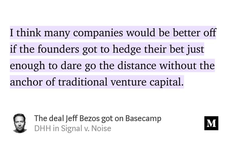 "I think most bootstrapped founders would agree. ""The deal Jeff Bezos got on Basecamp"" by @dhh https://link.medium.com/TQdS0MnZ7T"