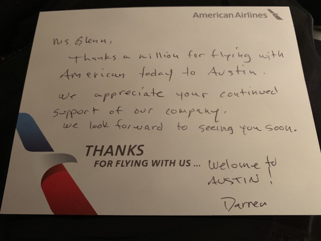 Thank you @AmericanAir for your continued excellent customer service. Proud to be an Executive Platinum.