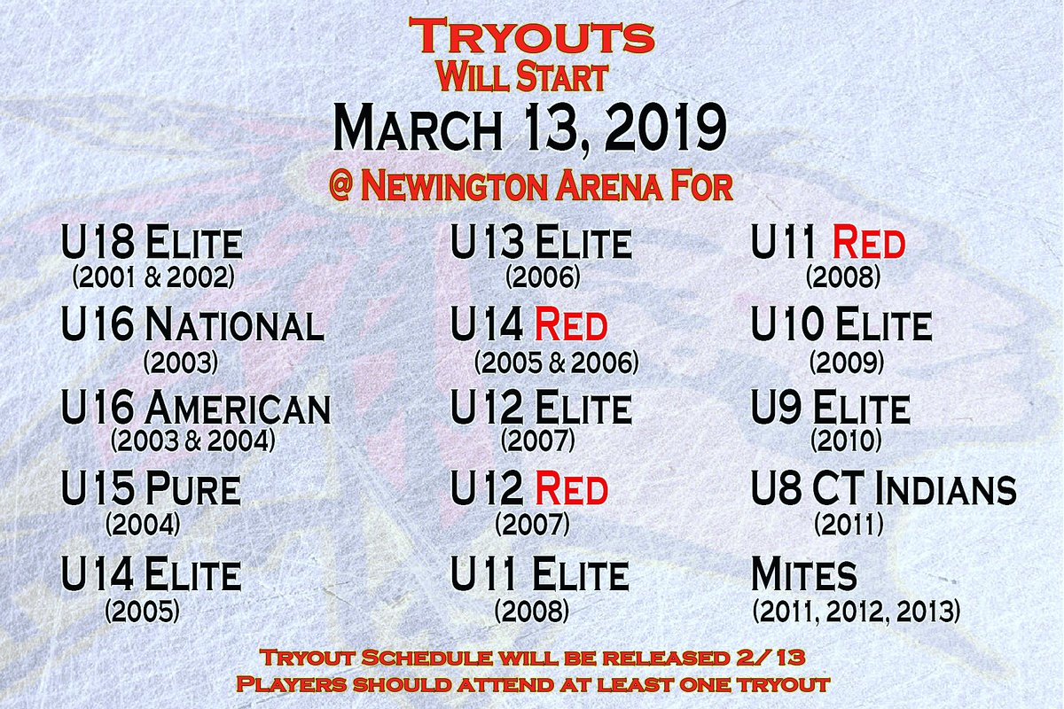 Tryout Start March 13 @ Newington Arena    Tryout Schedule will be released 2/13 Players should attend at least one tryout.  https://www.ctchiefshockey.com/tryouts...#gochiefs … #promote #develop #excel  #goctchiefs #ctchiefs #chiefs #elitehockey #icehockey #hockey #workhard #hardwork #travelhockey #ayhl