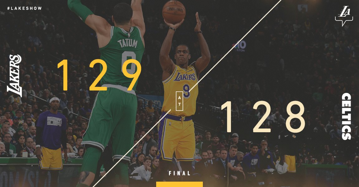 Rajon Rondo with the #LakeShow game-winner in Boston. Unreal.   @KingJames: 28 pts, 12 ast, 12 reb @kylekuzma: 25 pts @RajonRondo: 17 pts, 10 ast, 7 reb